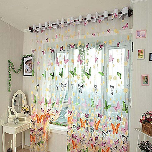 2 PCS Butterfly Printed Sheer Window Curtains Tulle Door Window Screen