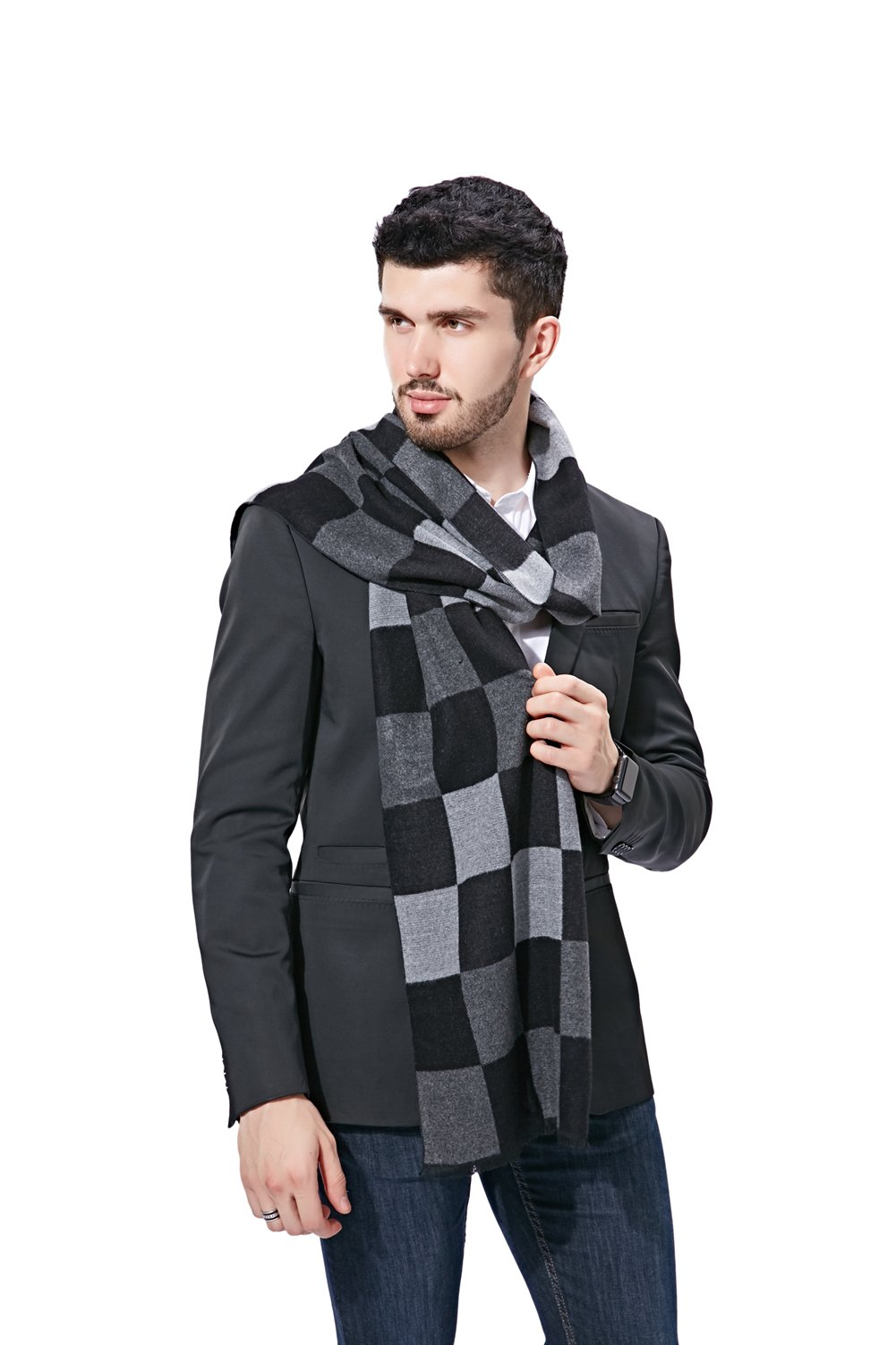 FULLRON Men Winter Cashmere Scarf Cotton Scarves - Black & Grey Plaid