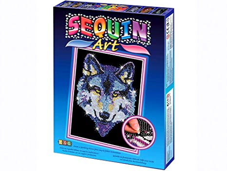 Amazon Com Sequin Art Blue Wolf Sparkling Arts And Crafts Picture