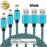 iPhone Charger, C-TOP 3Pcs 3ft 6ft 10ft Lightning to USB Nylon Braided iPhone Cable Cord Charger Compatible with iPhone 7/7 Plus/6s/6s Plus/6/6 Plus/5/5S/5C/SE/iPad and iPod