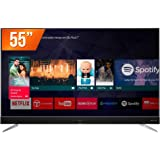 """Android  TV LED 65"""" Ultra HD 4K HDR com Soundbar integrado Harman Kardon 3 HDMI 2 USB, TCL, 65C2US, Preta"""