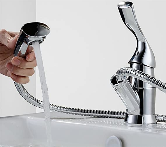 Rotary Pull The Faucet Hot And Cold Copper Table Basin Faucet Single Hole Single Pull Faucet - - Amazon.com
