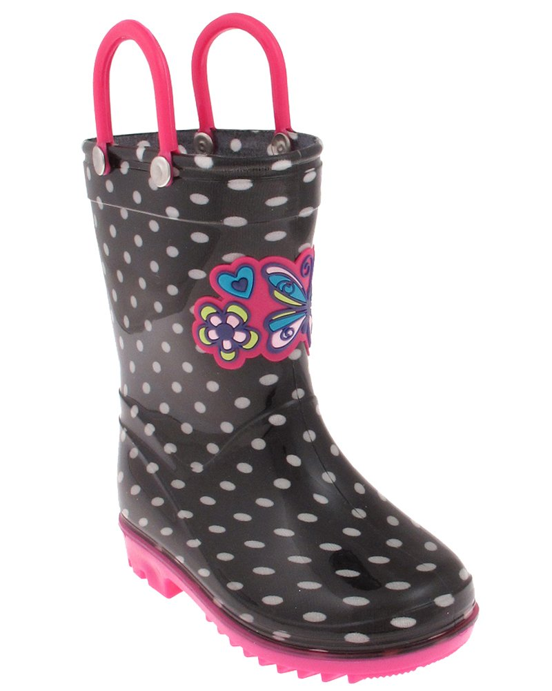 Capelli New York Shiny Polka Dot Printed And Love Butterfly Jelly Applique Toddler Girls Jelly Rain Boots Black Combo 6/7