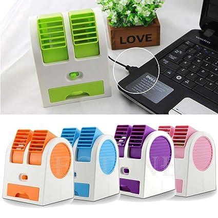 Hanumex Mini Small Fan Cooling Portable Desktop Dual Blade less Air Conditioner USB