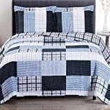 Extra Wide Comforter for King Size Bed Cottage Coastal Coverlet Quilt Shams Set Oversized King/Cal King Size Navy Ice Blue Gray Plaid Stripe Patchwork Print Pattern Lightweight Reversible Wrinkle Free Hypoallergenic 3 Piece Bedding