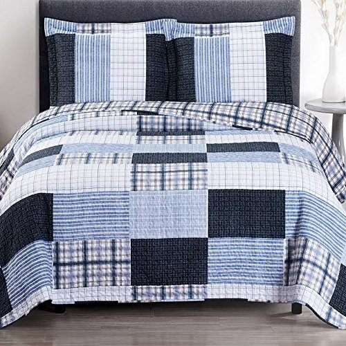 Cottage Coastal Coverlet Quilt Shams Set Oversized King/Cal King Size Navy Ice Blue Gray Plaid Stripe Patchwork Print Pattern Lightweight Reversible Wrinkle Free Hypoallergenic 3 Piece Bedding ()