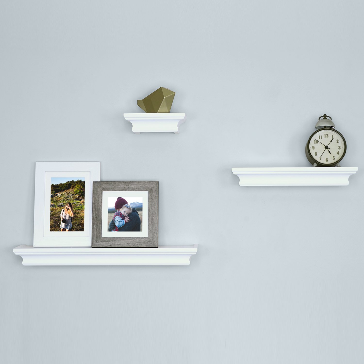 Ballucci Classic Floating Wall Shelves Ledge, Set of 3, White