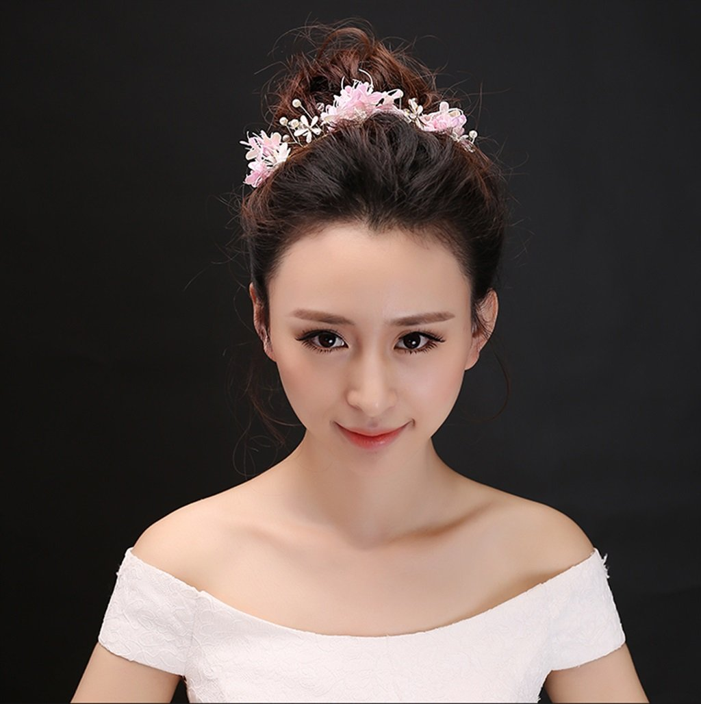 Wreath Korean Bride Head Flower Sen Female Hand Flower Headdress Wedding Dress Wedding Dress Dress Accessories (Color : Pink)