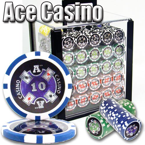 1000 Ace Casino Acrylic Poker Chip Set. 14 Gram Heavy Weighted Poker Chips. by Heavy Weight