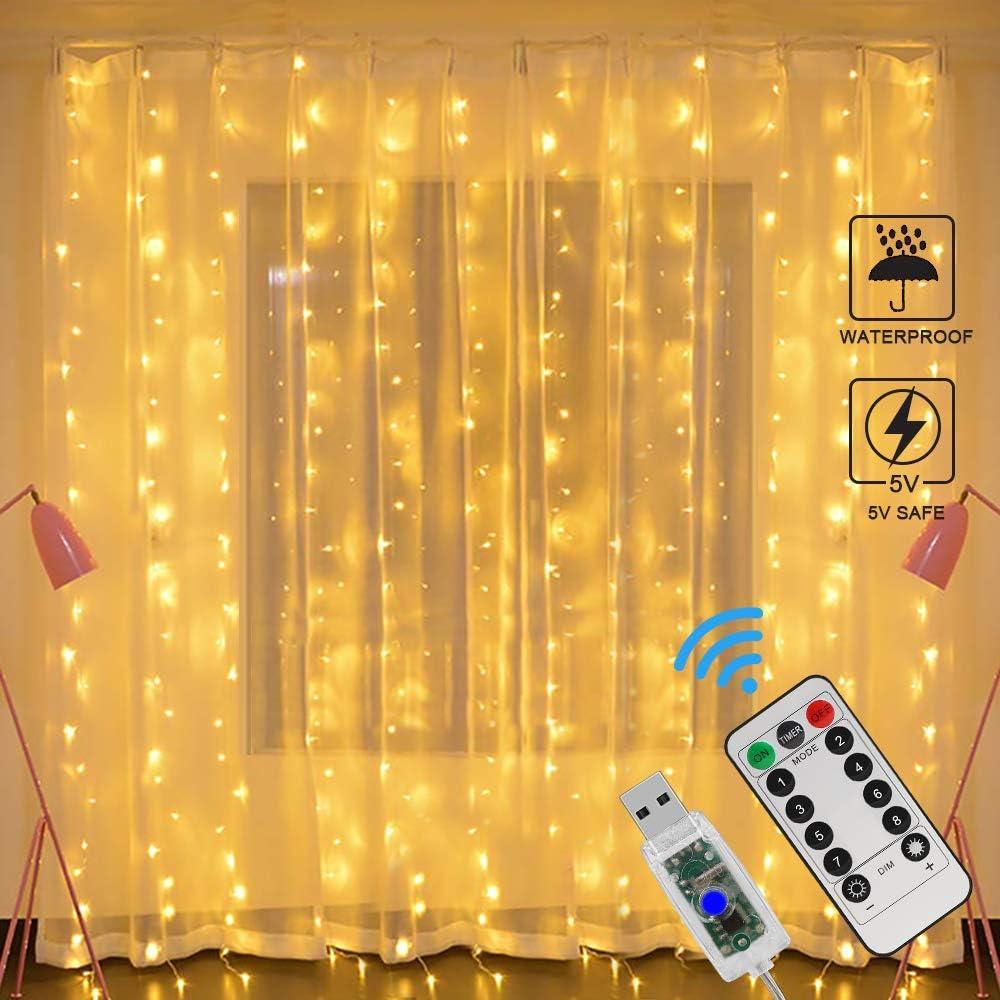 Cortina de Luces LED USB, Zorara 3x3 m 300 LEDs 8 Modos Cortinas de Luz Impermeable Cadena Luz de Cortina Blanca Cálida para Bodas, Casa, Jardín, ...