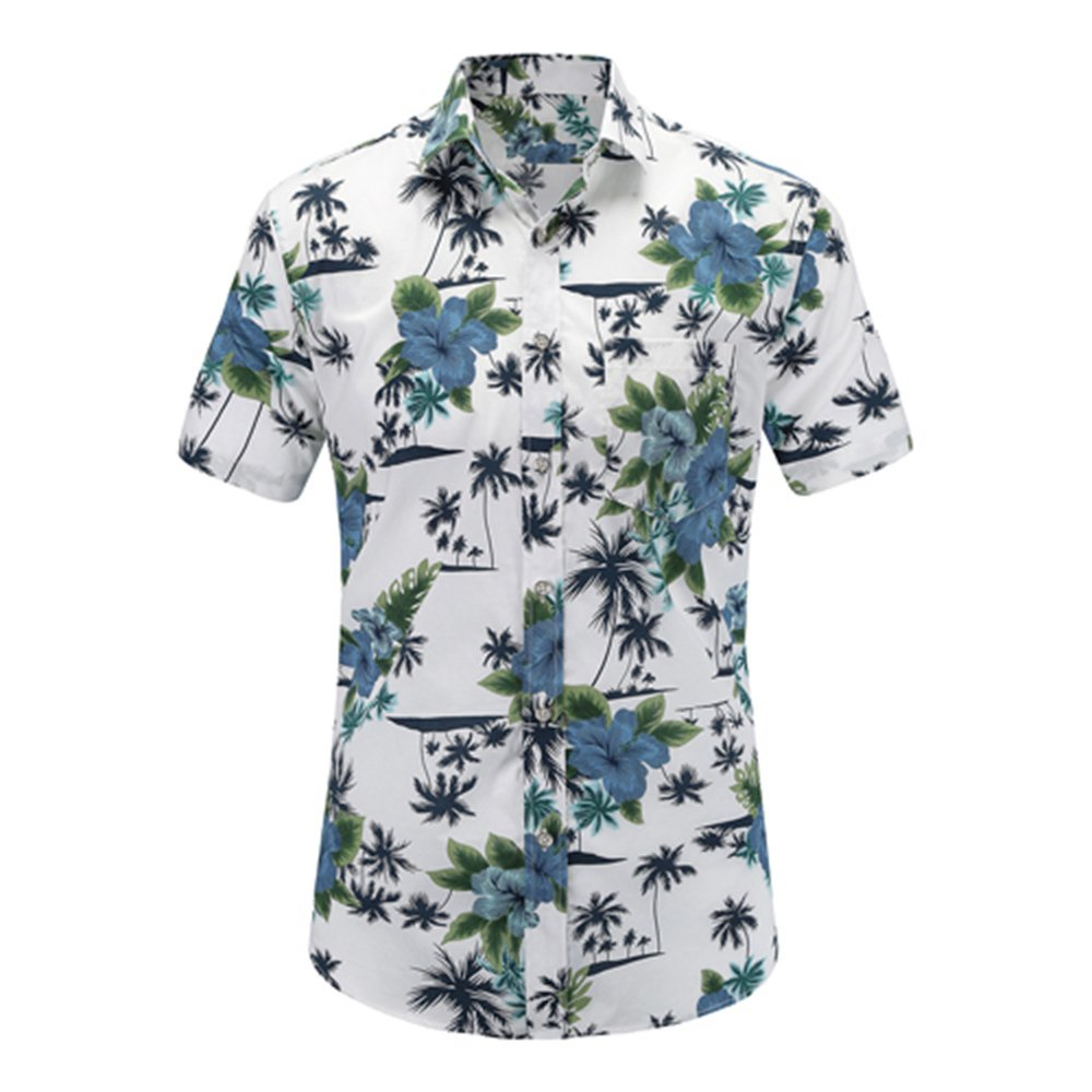 LOG SWIT New Summer Mens Short Sleeve Beach Hawaiian Shirts Cotton Casual Floral Shirts Regular Mens