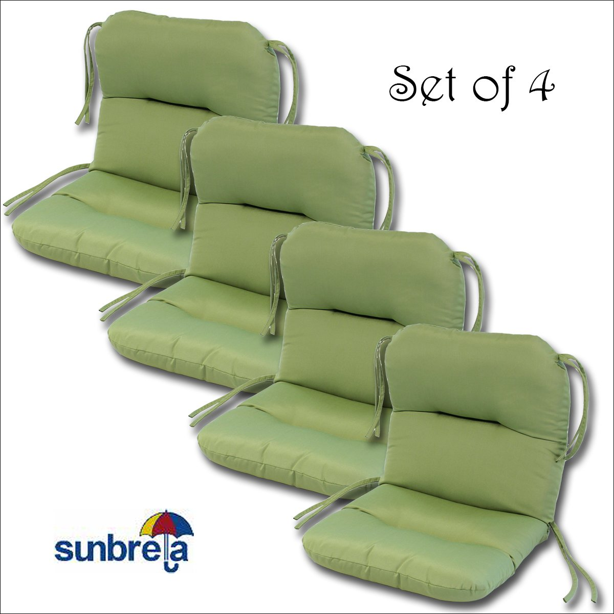 amazoncom set of 4 outdoor chair cushions 20 x 36 x 3 h19 in sunbrella fabric peridot by comfort classics inc patio lawn u0026 garden