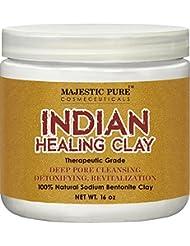 Majestic Pure Indian Healing Clay Powder, Deep Pore Cleansing Facial, Body and Hair Mask, Natural Sodium Bentonite Clay, 16oz