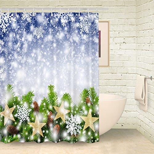 Christmas Shower Curtain Snowflake Decor Curtains Shower