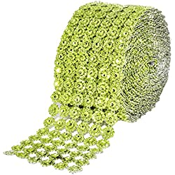 Mandala Crafts Bling Sparkling Acrylic Diamond Rhinestone Crystal Mesh Wrap Ribbon Roll for Cake Vase Centerpiece Party Wedding Decoration (Flower Pattern 4 Inches 10 Yards, Lime Green)