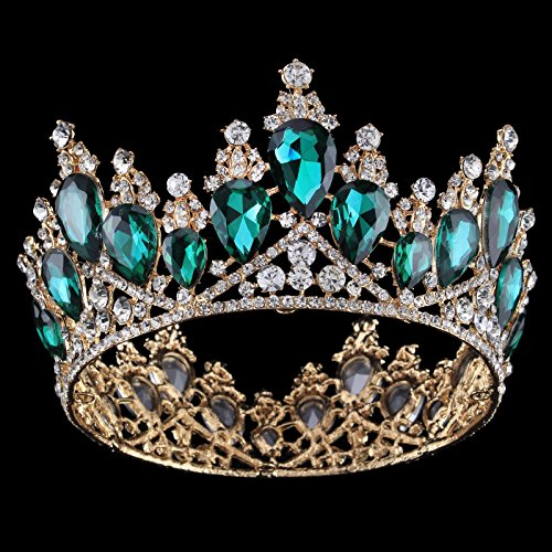 Vintage Rhinestones Crystal Crown for Women Wedding Bridal Tiara Flower Crown Hair Accessories (gold-green)