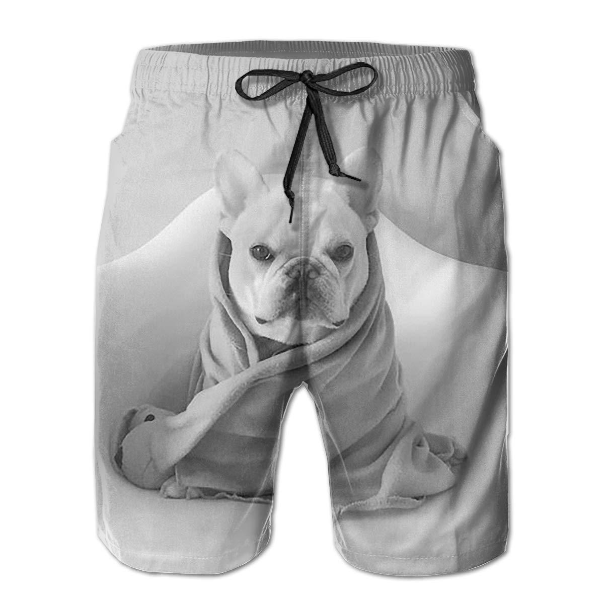 Tyugvvo French Bulldog Funny Swim Trunks Quick Dry Beachwear Sports Running Swim Board Shorts Mesh Lining