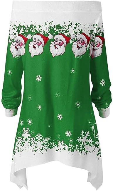 Camisa De Navidad para Mujer Camiseta De Larga Vintage ...