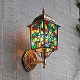 Edge To Wall lamp Bohemian Wall Lamp Outdoor Lantern Creative Villa Lamp Pastoral Outdoor Door Courtyard Waterproof Wall Lamp ( Color : B )