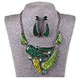Tibet Silver Green Oil Drop Retro Gothic Chunky Necklace Earrings Jewelry Set