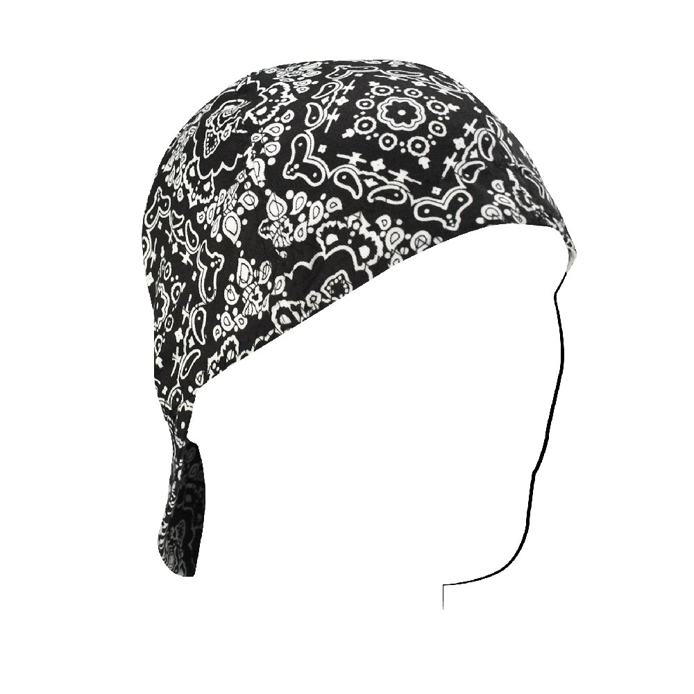 Zanheadgear Welder Cap with Paisley Design (Black, 7.5'')