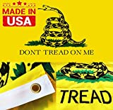 Winbee Embroidered Don't Tread On Me Flag 3×5 Ft – Exclusive Strongest 300D Nylon, Double Sewn Stripes and Brass Grommets, UV Protected, Best American Gadsden Flag For Sale