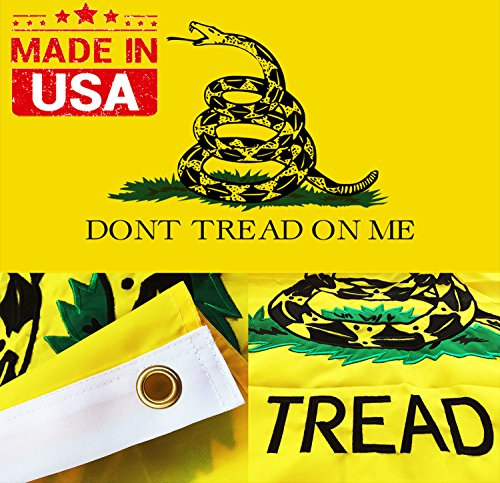 Flag Gadsden Dont Tread (Winbee Embroidered Gadsden Don't Tread On Me Flag 3x5 Ft with Long Lasting Nylon, Double Sewn Stripes and Brass Grommets, UV Protected, Best 3 by 5 American Tea Party FLA)