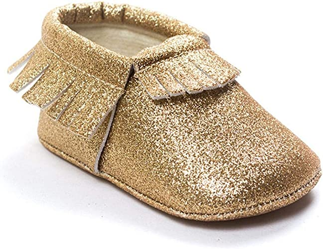 HONGTEYA Glitter Baby Moccasins Girls Genuine Leather with Tassels Non-Slip Soft Soled Infant Toddler Crib Shoes/