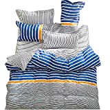 YOUSA 4-Piece Striped Bedding Set Microfiber Bedding for Boys Queen