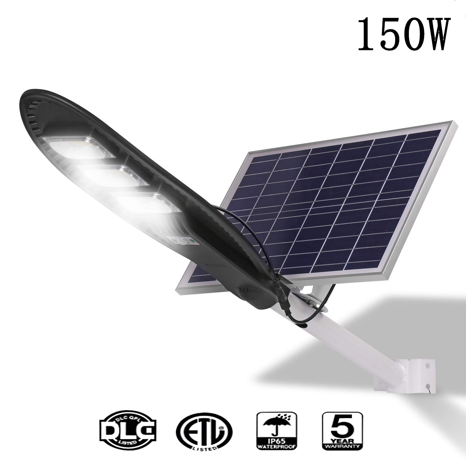 150W Solar Street Lights Outdoor Lamp,8000 lumens with Remote Control,Light Control, Human Body Induction, Dusk to Dawn Security Led Flood Light for Yard, Garden, Street, Basketball Court