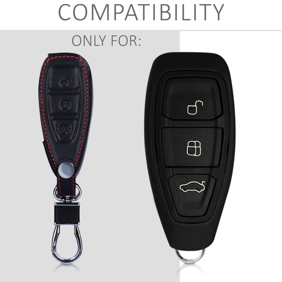- Case para Mando y Control de Auto con dise/ño I Love my Car kwmobile Funda para Llave Keyless Go de 3 Botones para Coche Ford Cuero sint/ético Cubierta de