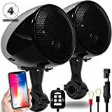 GoldenHawk 300W All-in-One 4'' Full Range Waterproof Bluetooth Motorcycle Stereo Speakers 7/8-1.25 in. Handlebar Mount w/AUX & Wired Control Music Player Audio Amp System Harley Touring Cruiser ATV UTV