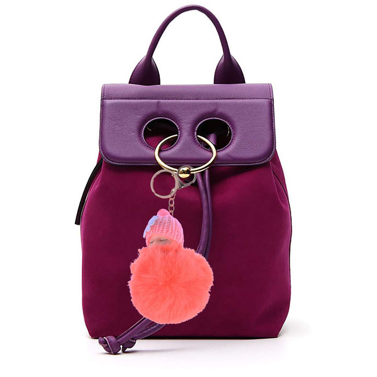 Amazon.com : VORCOOL Cute Plush Ball Keychain Baby Doll Key ...