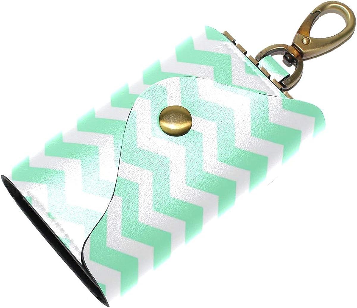 KEAKIA Seafoam Green Chevron Leather Key Case Wallets Tri-fold Key Holder Keychains with 6 Hooks 2 Slot Snap Closure for Men Women