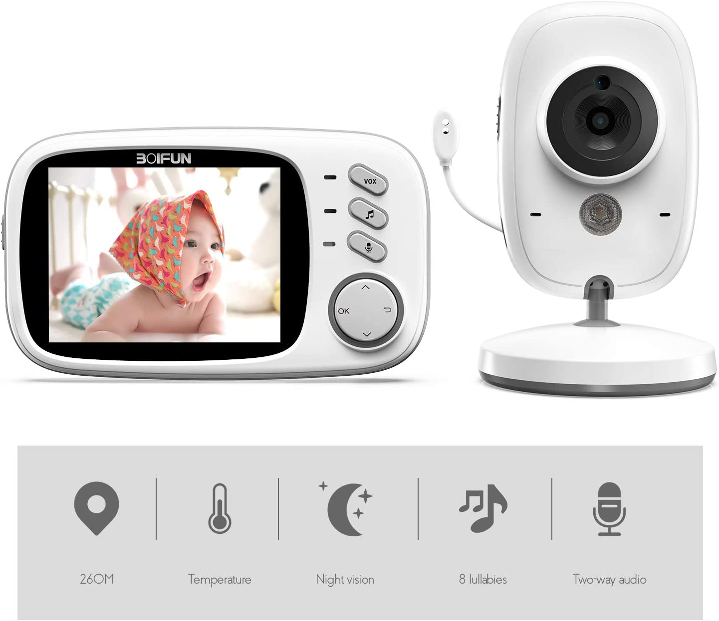 Baby Monitor, BOIFUN 3.2 Baby Video Monitor with Camera and Audio LCD Screen 750mAh Rechargeable Battery Support VOX Night Vision Temperature Monitoring Two-Way Talk 8 lullabies for Baby Elder Pet