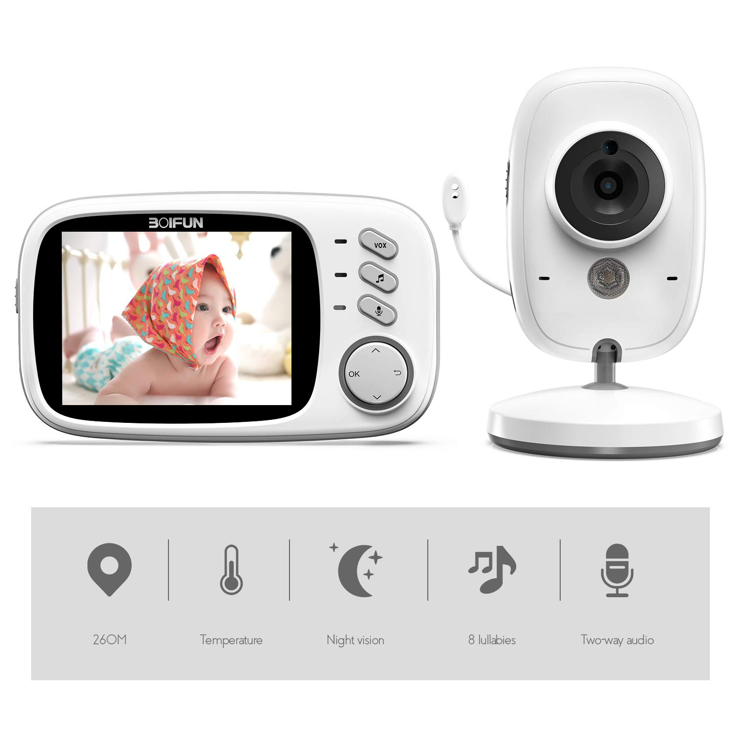 Baby Monitor, BOIFUN 3.2'' Baby Video Monitor with Camera and Audio LCD Screen 750mAh Rechargeable Battery Support VOX Night Vision Temperature Monitoring Two-Way Talk 8 lullabies for Baby/Elder/Pet by BOIFUN
