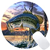 Wknoon Large Mouth Bass Round Gaming Mouse Pad Custom Design Fish Circular Mouse Pads
