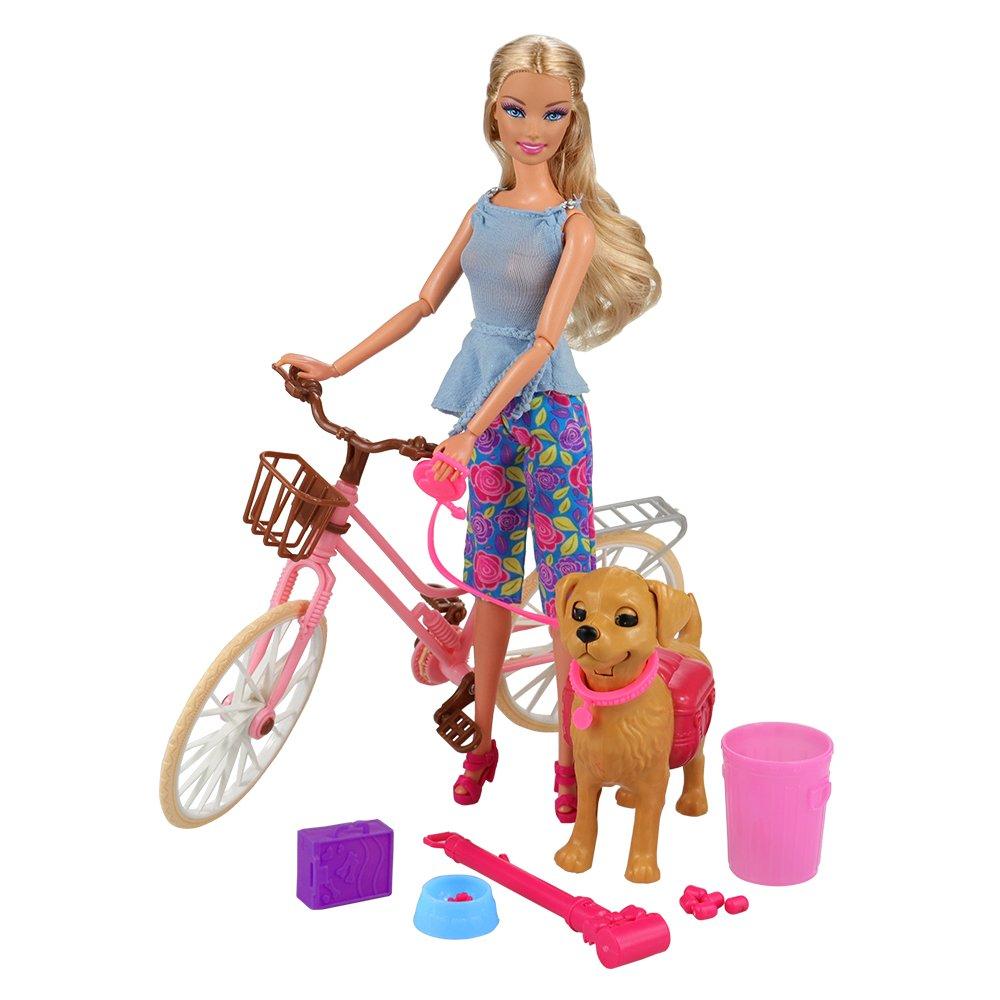 Miunana 2 Sets Accessori per Bambola Barbie Dolls: Bicicletta + Accessori di Beniamino Pets
