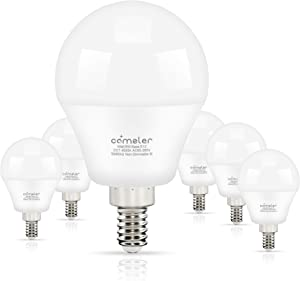 Comzler Ceiling Fan Light Bulbs Candelabra LED Bulbs - 60 watt Equivalent, 4000K Cool White Candelabra E12 Base G45 Globe Light Bulbs for Ceiling Fan,600lm,Non-Dimmable, Pack of 6