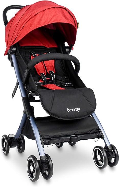 Opinión sobre Besrey Silla Paseo Bebe Ligera Compacta Cochecito Viaje Avión 4,9 kg Carritos de Bebe Plegable 6-36 Meses,Rojo …