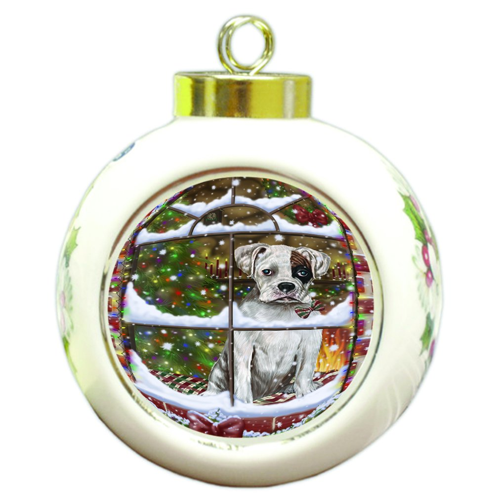 Please Come Home For Christmas Boxers Dog Sitting In Window Round Ball Ornament D388