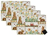 Springtime Woven Place Mats - Easter Designs Set of 4 (Brown Bunnies and Daffodils)
