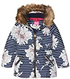 Joules Little Girls' Belmont Print Waisted Puffer Coat, French Navy Peony, 6