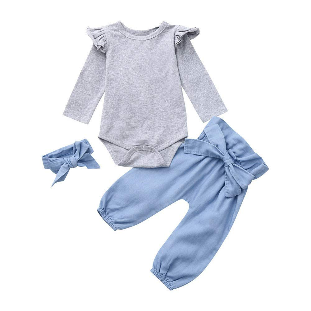 BAOBAOLAI Baby Girls Long Sleeve Romper with Bloomer Pants Set Headband 3PCs