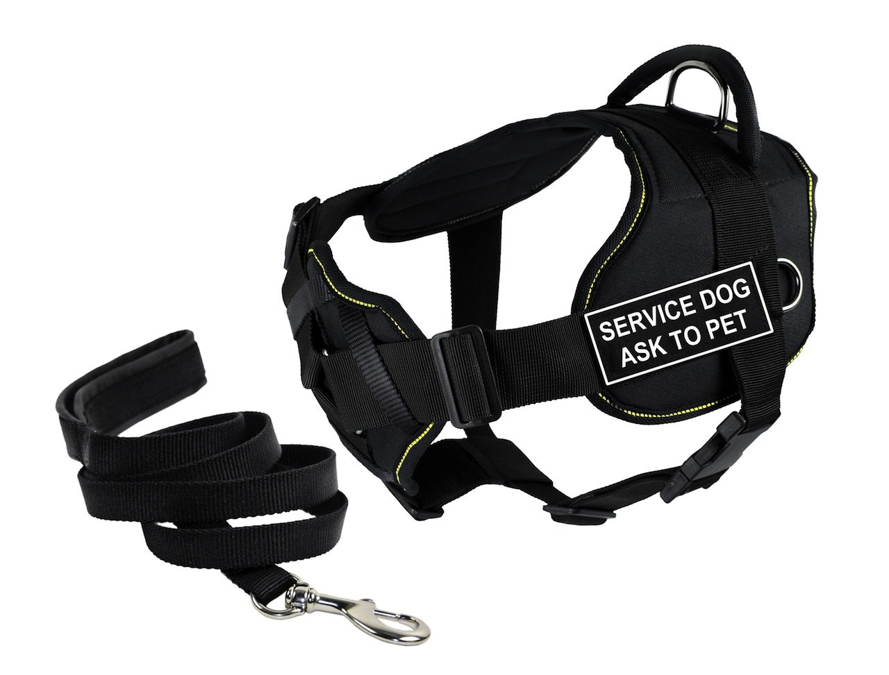 Dean & Tyler's DT Fun Chest Support SERVICE DOG ASK TO PET Harness, Small, with 6 ft Padded Puppy Leash.