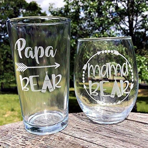 Beer and Wine Glass Set, Papa Bear & Mama Bear