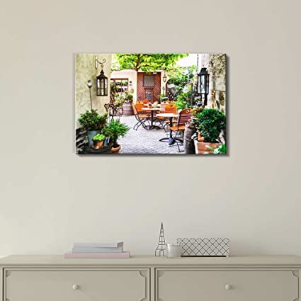 Amazon.com: Wall26 - Canvas Prints Wall Art - Cafe Terrace in Small ...