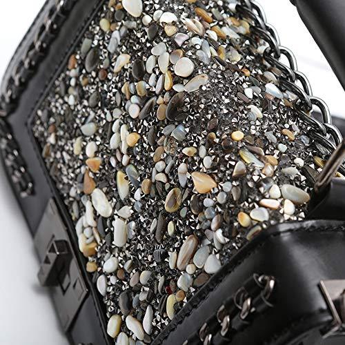Une Main Cailloux Chaîne Bandoulière Sac Black De À Épaule Coloré Mode Femmes XHRxqH