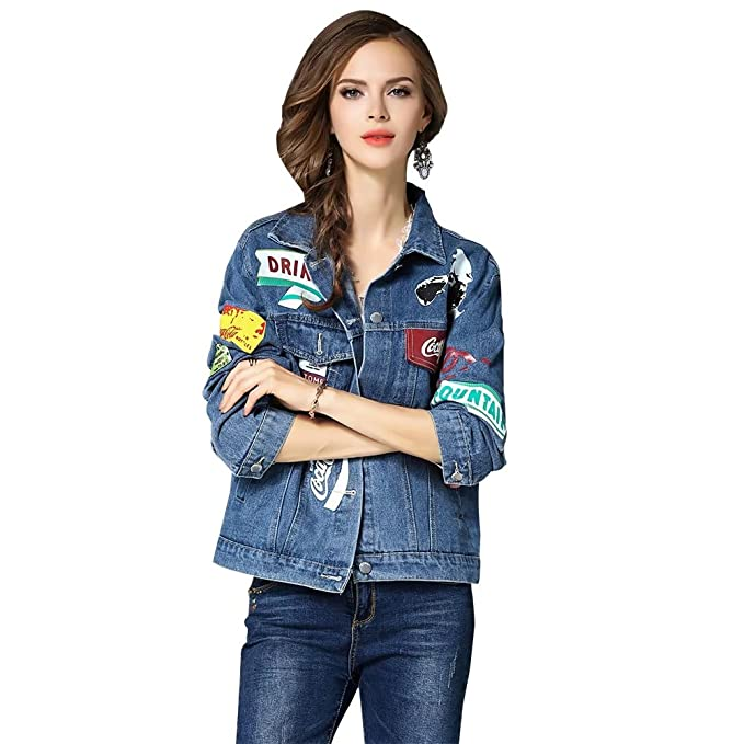 cbcc78fdd33b4 Women s Classic Denim Jacket Casual Long Sleeve Trench Coat Girls Fashion Top  Jeans Loose Coat Baseball