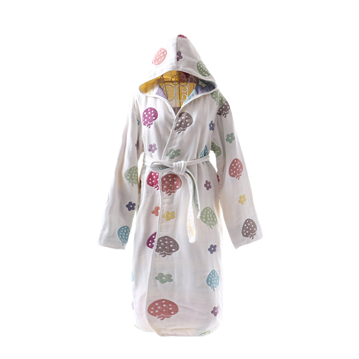 TOLLION 100% Organic Cotton Boys And Girls Hooded Robe Kids Bathrobe Nightgown (S: 5-6 Years, Color Strawberry)